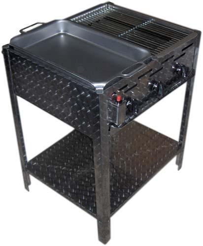 rvs gas barbecue met pan en rooster