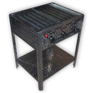 solide rvs gas barbecue met rvs rooster