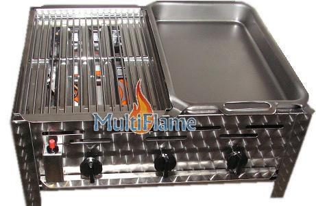 Combi model pan met rooster RVS slagers barbecue