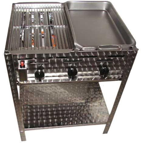 zware kwaliteit rvs gas bbq met rooster en pan