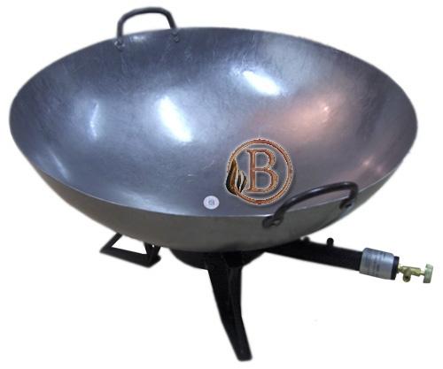 3 poot wok brander met stalen grote wokpan