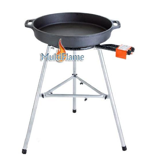 Paella brander met gietijzeren pan en onderstel