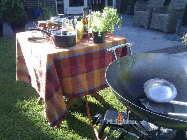 Janssberg wok brander met spade, lepel en thermometer