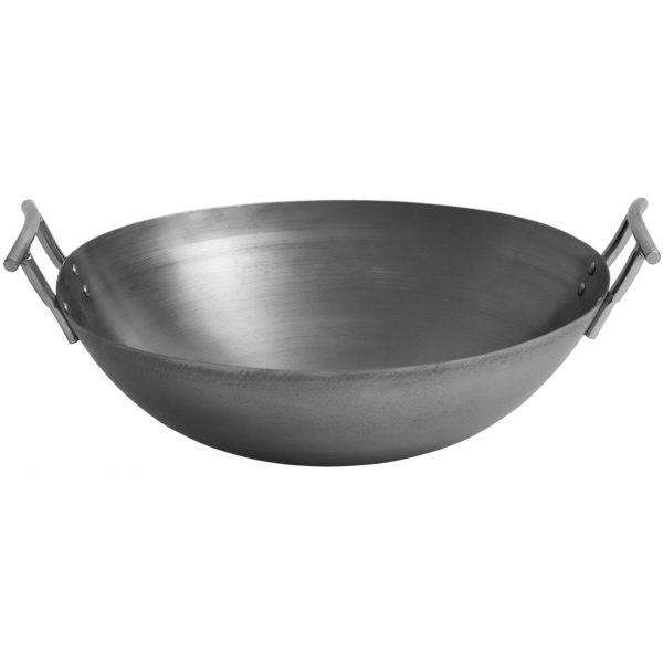 Jansberg carbon steel wok pan met handvatten
