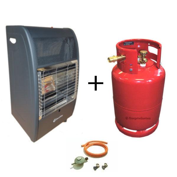 Broilfire blueflame kachel + stalen 27 liter LPG tank