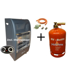 Broilfire blueflame thermostaat mobiele gaskachel + RV Bottle 26,5 liter LPG tank