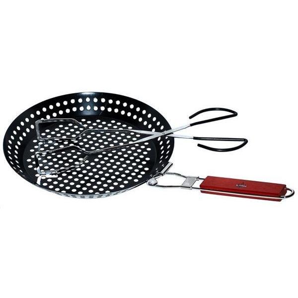 Grillpan topper met barbecue tang set