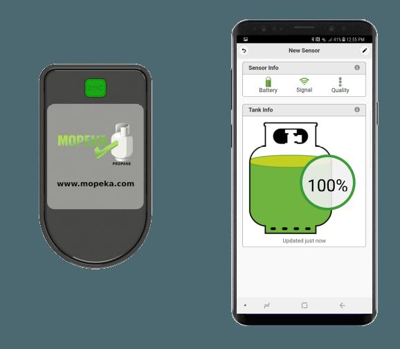 Draadloze Bluetooth sensor gasfles
