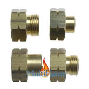 Vulset Europa adapter set messing propaan butaan