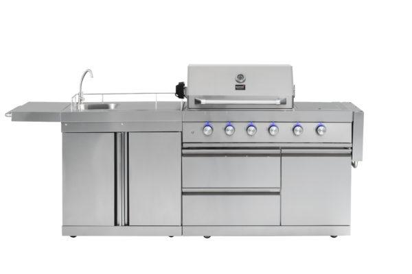RVS buitenkeuken Mustang gas grill Opal zijtafel links
