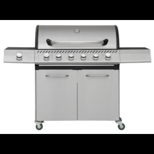 RVS gas barbecue met RVS zij brander en 6 RVS branders top kwaliteit