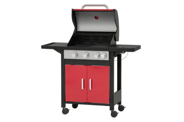 Mustang gas grill Monterey rood zijaanzicht