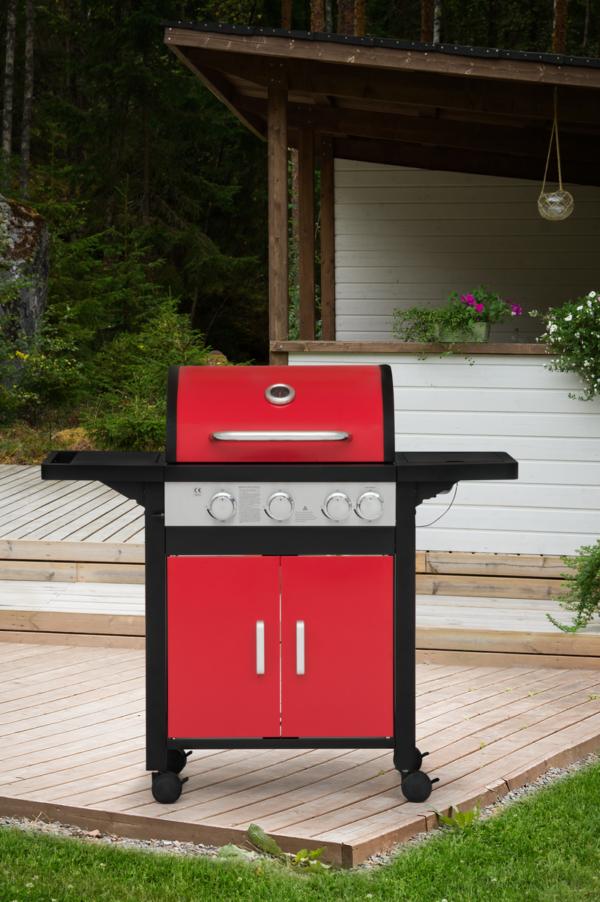 Mustang gas grill Monterey rood met dubbelwandige deksel