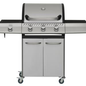Hoge kwaliteit zilveren RVS gas barbecue met gietijzeren roosters