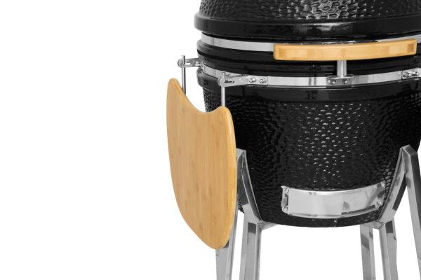 mustang 22 inch kamado houtskool grill zijtafel ingeklapt