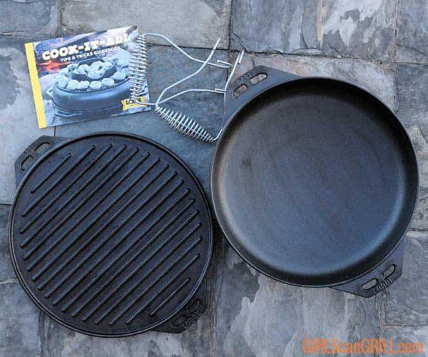 gietijzeren Lodge Cook-It-All pan en grillplaat