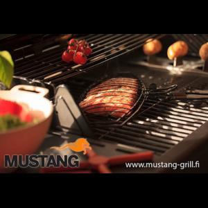 Mustang scharnierend grill rek anti aanbak ovaal in gebruik