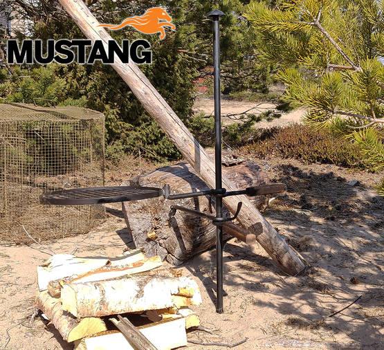 Mustang kampvuur bbq set staal smederij kwaliteit in gebruik